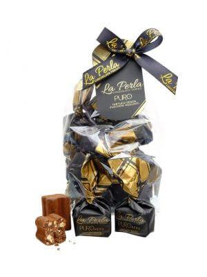 schokoladekonfekt perla puro nera von la perla di torino aus turin im piemont in 200 gramm verpackung cellophan