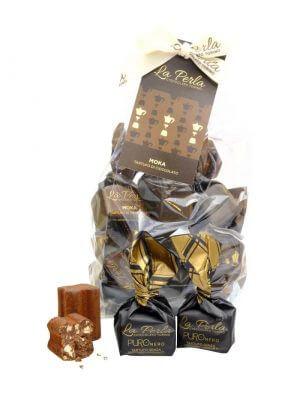 moka schokoladekonfekt mit espresso von la perla di torino aus turin im piemont in 200 gramm verpackung cellophan