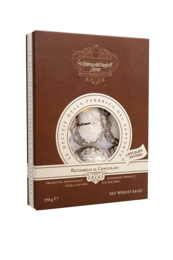 ricciarelli weiche mandelkekse mit kakao von fabbrica del panforte aus siena in der toskana 250 gramm