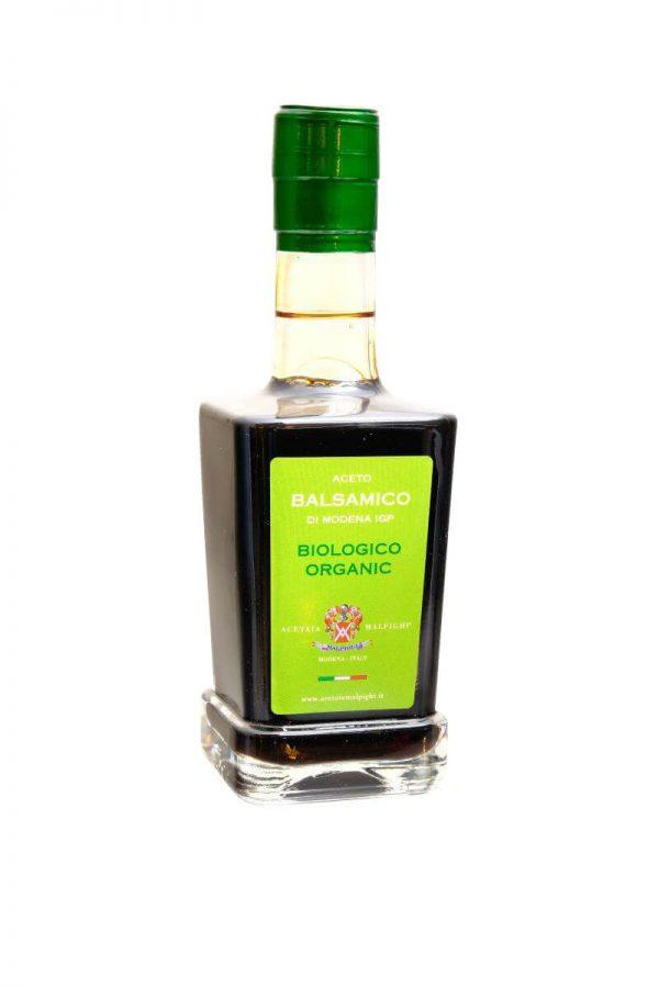 bio balsamico essig in glasflasche von acetaia malpighi aus modena
