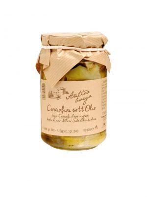 artischocken herzen in olivenoel eingelegt von terre dell'etruria in der toskana