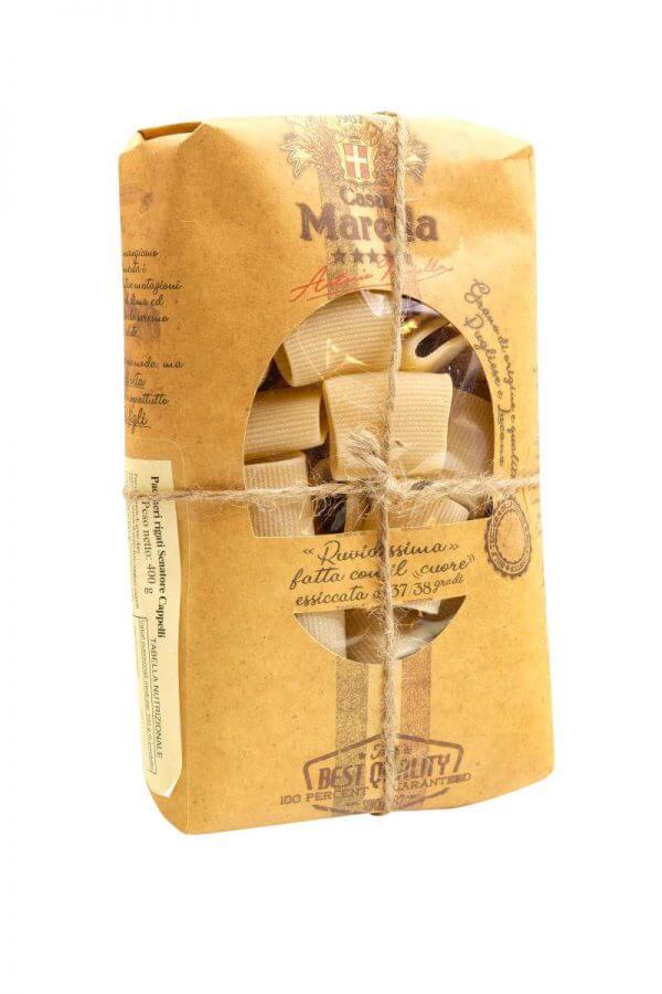paccheri rigati kurze nudeln ohne ei mit rillen von pasta marella aus apulien