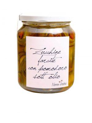 zucchiniroellchen gefuellt mit getrockneten tomaten in olivenoel von nonno andrea aus treviso 390 gramm