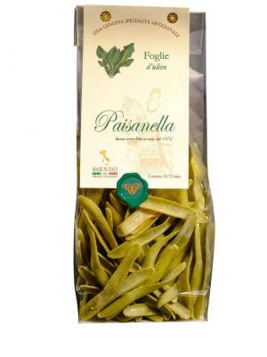 foglie di ulivo kurze pasta in form von olivenblaettern mit spinat von pasta paisanella