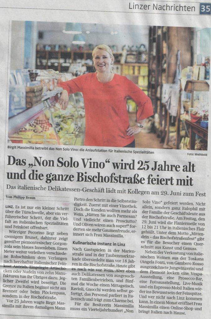 25 jahre non solo vino zeitungsartikel ooen juni 2018