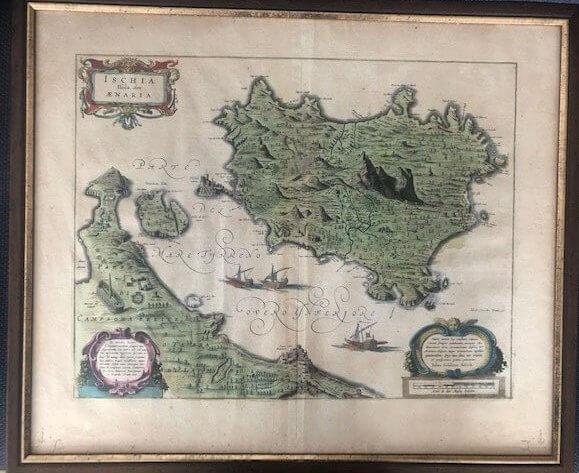 antike gerahmte landkarte der insel ischia Blaeu 1662
