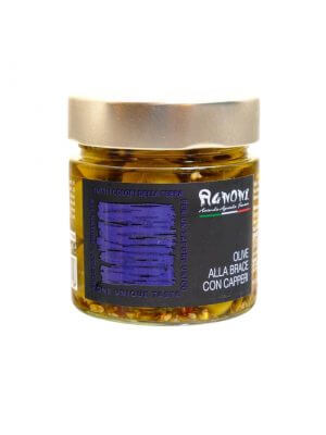 gegrillte oliven mit kapern vom familienbetrieb agnoni im latium