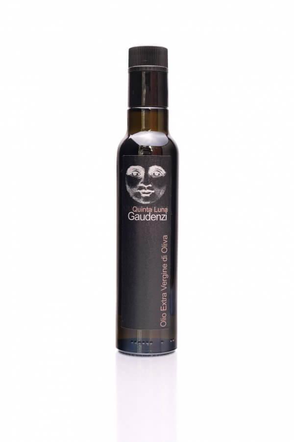 flasche mit olivenöl von gaudenzi quinta luna mit mondgesicht