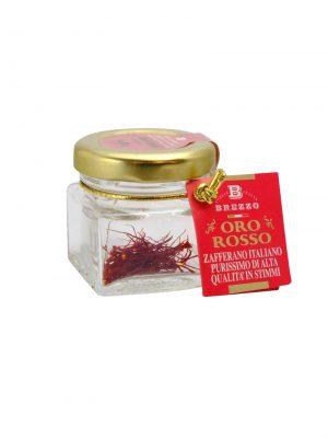safran in fäden oro rosso von brezzo im glas