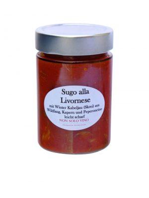 Sugo alla livornese tomatensugo mit filet vom winterkabeljau mit kapern, pinienkernen und peperoncino scharf hausgemacht von nonsolovino